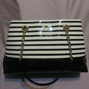 Kate Spade Patent Leather Stripe Tote Bag
